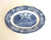 Liberty Blue Staffordshire Ironstone Oval Platter Blue Transferware