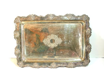 Large Ornate Silver Plate Serving Tray