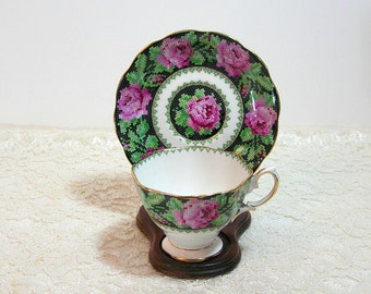 Royal Albert Needlepoint Bone China Teacup And Saucer, England