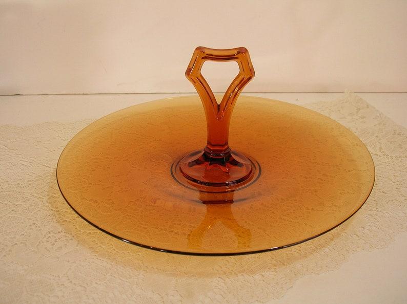 Amber Depression Glass Serving Dish