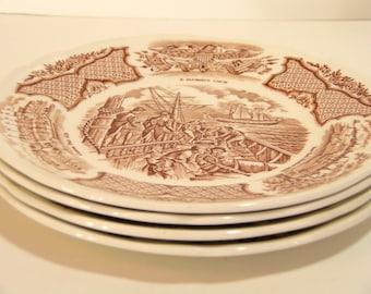 Alfred Meakin Brown Fair Winds Dessert Plates Set of Four  sc 1 st  Etsy & Alfred meakin plates   Etsy