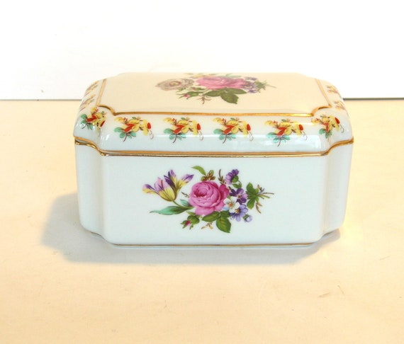 Vintage Floral Relief China Vanity BoxTrinket Box