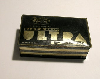 Page and Shaw Ultra Pak Tin Box 1920s-1930s Art Deco Candy Box