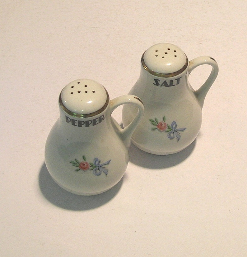 Hall Pottery Salt and Pepper with Pink Roses