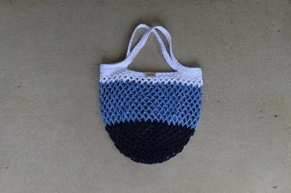 Purple and Blue Crocheted Multi-Color Farmers Market BagProduce BagBeach Bag