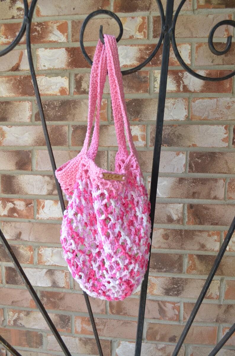 Pink Crocheted Multi-Color Farmers Market BagProduce BagBeach Bag