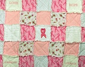 Breast Cancer Awareness Embroidered Rag Quilt...ON SALE