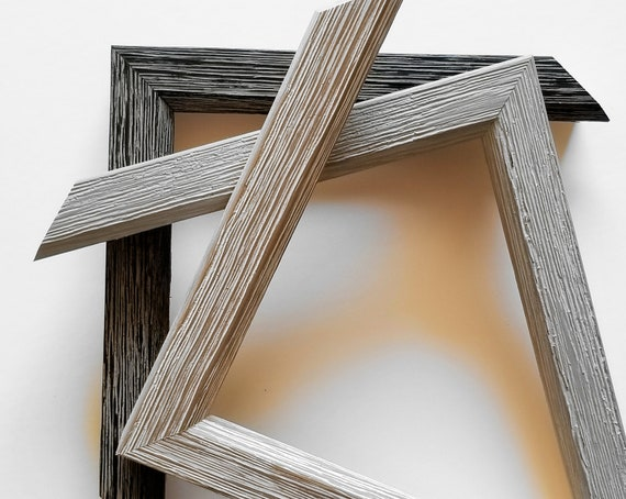 8 X 10 12 X 16 Classic Barnwood Picture Frames In Black Etsy
