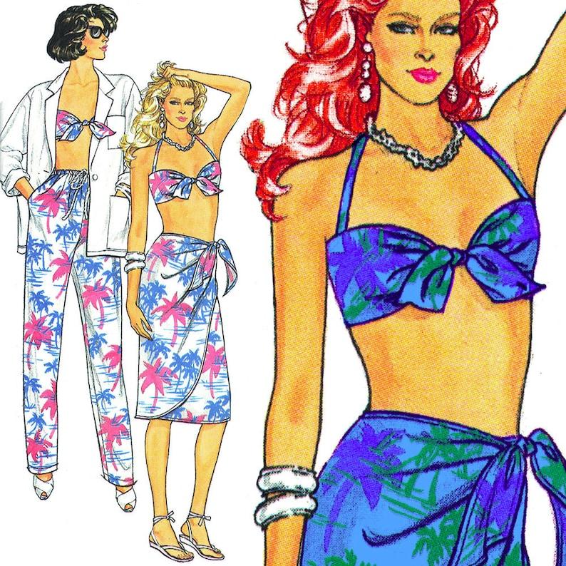 Sexy Bikini Top and Sarong Vintage ©1985 Butterick Sewing image 0