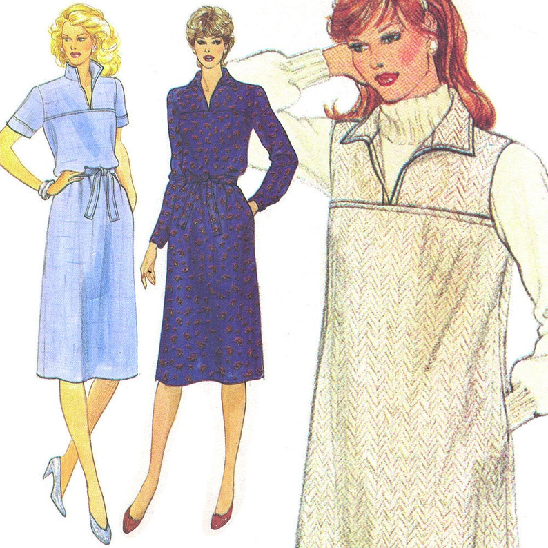 Casual Shirtdress Vintage c. 1980s Very Easy Vogue Sewing image 0
