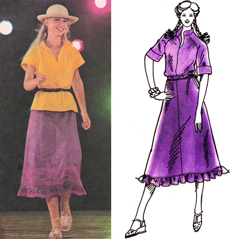 Boho Skirt and Top Vintage ©1978 Simplicity Sewing Pattern image 0