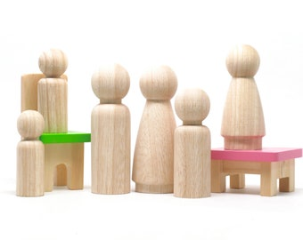 Blank Peg Dolls // 6 Wooden Dolls // Unpainted Fair Trade Colombian Wooden Dolls