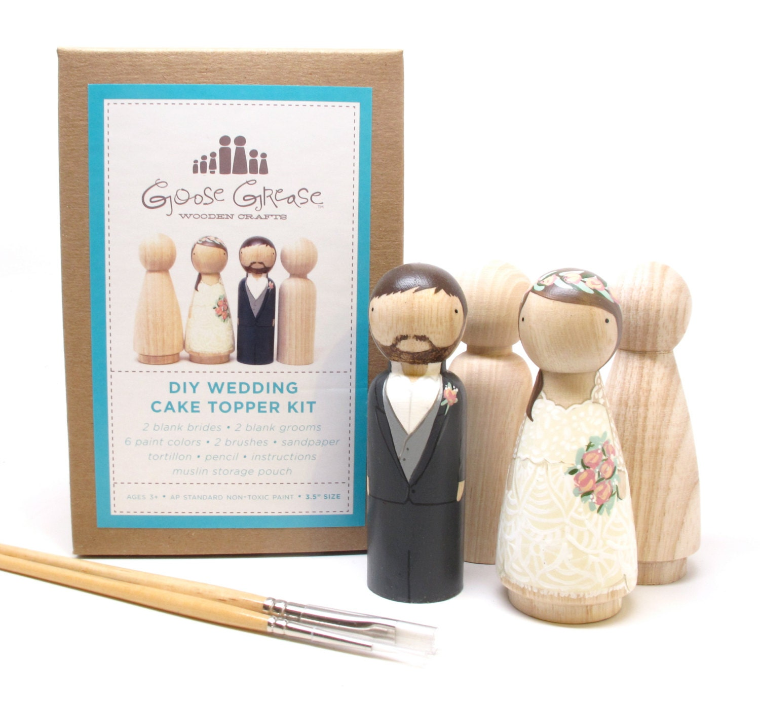 Peg Doll Wedding Cake Toppers Bride/Groom Wedding Decor Kit