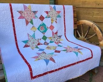 Quilt Baby Toddler Old New Thirties Nursery Bedding Crib Cot Scrappy Patchwork Stars Children Spring Summer Red Aqua piecesofpine