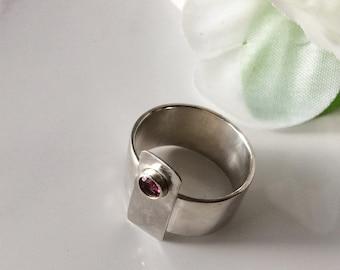 Rhodolite Garnet Ring on Wide 925 Silver Band January Birthstone Jewelry