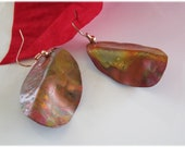 Copper Dangle Earrings, Fire Painted Hand Forged Drops Autumn Colors