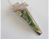 Jade Pendant on Sterling with Chain, Glowing BC Jade FREE shipping in North America