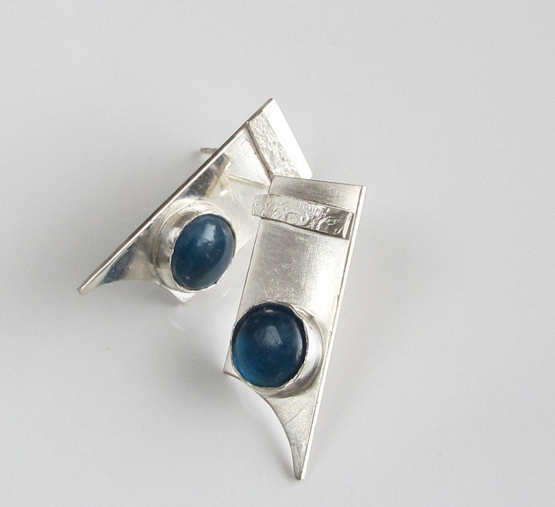 Blue Stone Studs  Apetite Cabochons on Sterling Silver 925 image 0