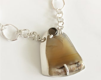 Bold Necklace - Golden Agate with Quartz, Handcrafted Sterling Chain, Statement Jewelry by DixSterling