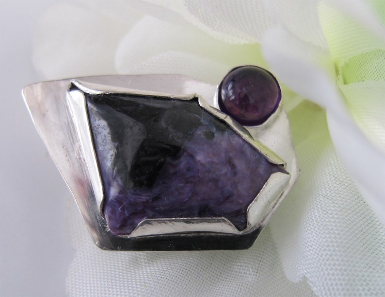 Purple Brooch: Russian Charoite and Amethyst on Bold Sterling image 0