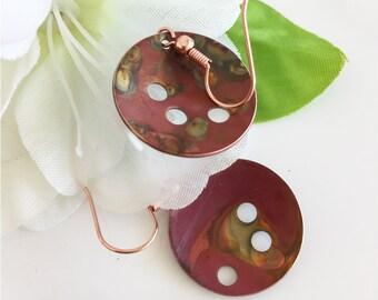 Colored Copper Drop Earrings