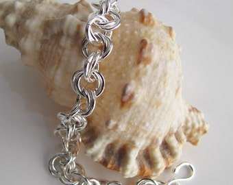 Sterling Chain Bracelet Handcrafted 925 Silver Links, Unisex Jewelry