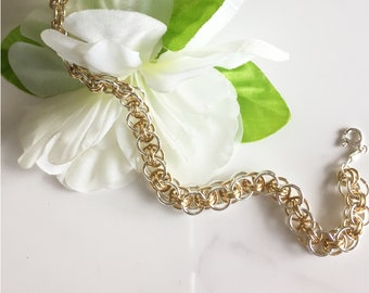 Celtic Chain Bracelet, Sterling and Gold Filled Wire