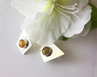 Amber on Sterling Studs