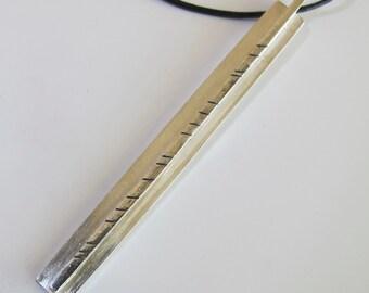 Long Slim Pendant Sterling -Unisex 925 Long Pendant on Leather Thong