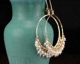 Pearl hoop earrings, handmade 14k gold filled hoop earrings, pearl cluster earrings, June birthstone, gold leverback earrings - Patience