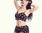 Skull and Crossbones Cami and Shorts Pyjama Set, Halloween Pyjamas, Pin Up Sleepwear, Gothic Lingerie, Skull Pyjamas, Size XS-XXL