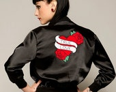 Satin Pin Up Style Bomber Jacket with Tattoo Motif - Sizes: XS - XL