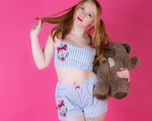 Nautical Sailor Pyjama Set - Rockabilly Pj Set - Gift for Girlfriend - Anchor Pyjamas - Pin Up Girl - Made To Order in Sizes: XS-XXL