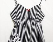 Halloween Pyjama Top, Skull Camisole, Striped Skull Camisole Top, Gothic Pyjama Top, Skull Pyjamas, Goth Camisole, Sizes XS - XXL