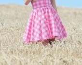 Gingham High Waist Circle Skirt - Pin Up Girl -  Sizes: UK 4-22/US 0- 18