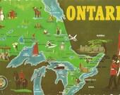 Vintage  Map Postcard - Ontario, Canada