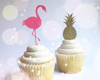 Flamingo Cupcake Toppers| Pineapple Cupcake Toppers| Tropical Party| Flamingo Picks| Pineapple Picks| Glitter Picks| Let's Flamingle