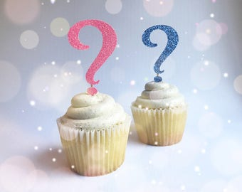 Gender Reveal Cupcake Toppers| Glitter Toppers| Gender Reveal Party| Gender Reveal Decorations| Gender Reveal Picks| Gender Reveal Desserts
