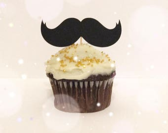 Mustache Cupcake Toppers| Little Man Toppers| Baby Shower| Little Man Decor| Mustache Party Decor| Mustache Baby Shower| Little Man Party
