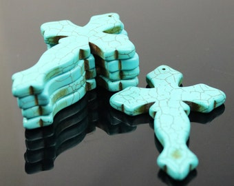 1 pcs Cross Pendant Howlite Turquoise HUGE CROSS Pendant 86x56mm 6.5mm thickness