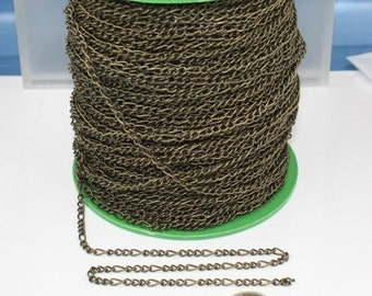 10 feet Antique Copper Plated Chunky Sturdy Heavy Long and Short 94FIGA 3 and 1 Chain FIGARO chain 9x4mm Necklace Bracelet