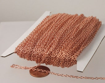 Sturdy Unsoldered link 3.0x2.1mm Champagne Gold Plated 3021CA 32 ft spool of Pinky Gold Round cable chain