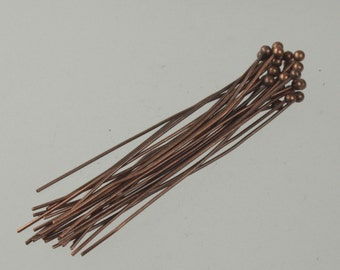 100 Antique Copper Color Head Pins Jewelry Findings ACCHP30-100D5