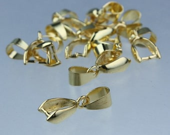 19mm 20 pcs of Antique Brass Plated on Brass Pinch Ice Pick Bails Pendant Clasp
