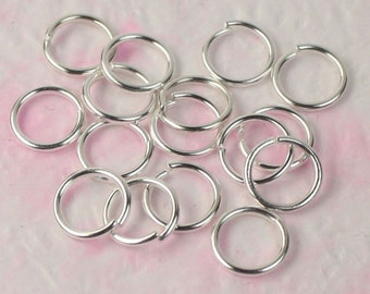 500 X 8 mm Jump rings Silver plated on brass round professional quality