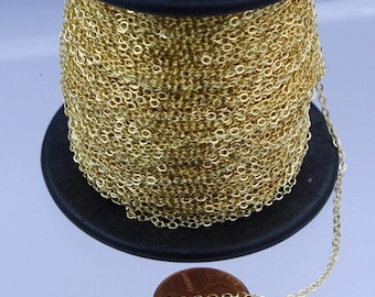 100ft Spool of Light Gold Plated Tiny Flat Cable Chain 1.6mm