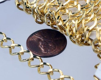 Gold Plated Curb Chain Bulk, 32 ft of Big Hammered Curb Chain - 8.7x7.3mm Unsolodered - Necklace Bracelet Wholesale DIY Chain