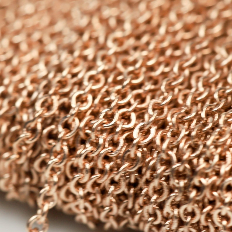 100 Ft Anti Tarnish Free Resistant Cable ROSE Gold Micro Flat Chain 1.5x1.2mm SOLDER Non Tarnish Flat Cable Chain AT1512