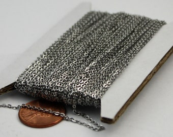 100 ft of Stainless Steel FLAT Chain Small Soldered Flat Chain Sturdy cable chain - 1.55mm SOLDERED Chain