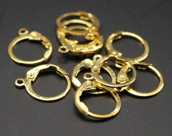 New 50 24K Gold Plated ROUND Leverback Earrings earwire - 12x9mm Brass Earring Lever Back - from California USA - ELR9